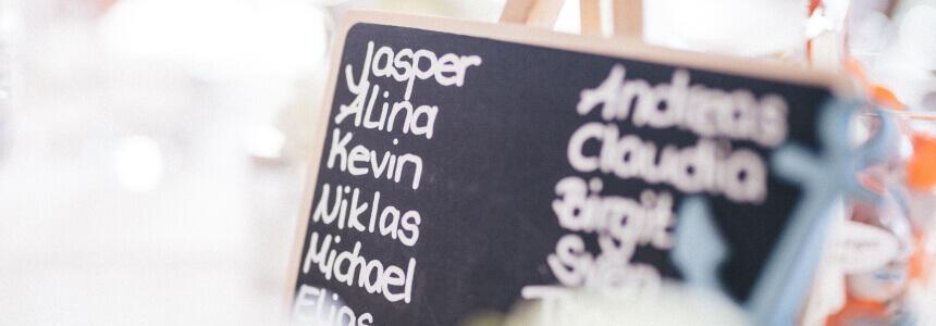 Eine Tafel mit vielen verschiedenen Namen für Kinder.